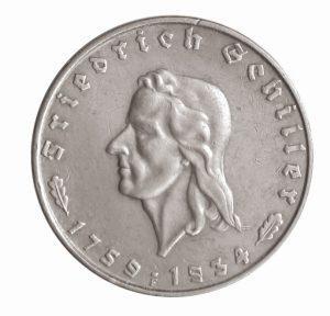 """Deutsches Reich, 2 Reichsmark 1934 """"Zum 175. Geburtstag von Friedrich Schiller"""", 625er Silber, 8g, Ø 25mm, Prägestätte F (Stuttgart), Auflage: 300.000, Jaeger-Nr. 358"""