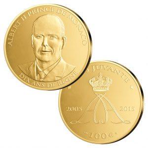 """Monaco 100 Euro 2015 """"10jähriges Thronjubiläum Fürst Albert II."""", 900er Gold, 32,25 Gramm, Ø 35mm, im Etui, mit Echtheitszertifikat, PP, Auflage: 499"""