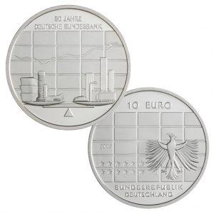 BRD 10 Euro 2007 50 Jahre Deutsche Bundesbank, 925er Silber, 18g, Ø 32,5mm, Prägestätte J (Hamburg), st Auflage: 1.600.000, PP Auflage: 300.000, Jaeger-Nr. 530
