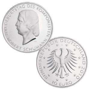 BRD 10 Euro 2010 200. Geburtstag Robert Schumann, 925er Silber, 18g, Ø 32,5mm, Prägestätte J (= Hamburg), st Auflage: 1.700.000, PP Auflage: 182.900, Jaeger-Nr. 550