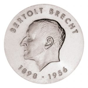 DDR 10 Mark 1973 75. Geburtstag Bertolt Brecht, 625er Silber, 17g, Ø 31mm, Prägestätte A (Berlin), Auflage: 100.197, Jaeger-Nr. 1544