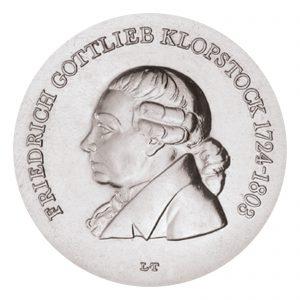 DDR 5 Mark 1978 175. Todestag Friedrich Gottlieb Klopstock, Neusilber (CuZnNi), 12,2g, Ø 29mm, Prägestätte A (Berlin), Auflage: 75.500 (PP: 4.500), Jaeger-Nr. 1566