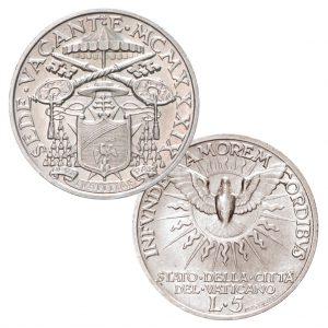 Vatikan 5 Lire 1939 Sedisvakanz, 835er Silber, 5g fein, Ø 23 mm, ss/vz, Auflage: 40.000