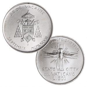 "Vatikan 500 Lire 1978 ""Sedisvakanz September 1978"", 835er Silber, 11g, Ø 29,30mm"