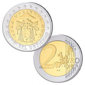 """Vatikan 2 Euro 2005 """"Sedisvakanz"""" aus offiziellem Kursmünzensatz zur Zeit ohne Papst nach dem Tode von Johannes Paul II."""