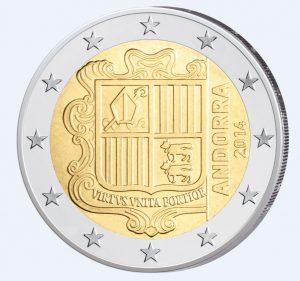 Motivseite der Andorra 2 Euro-Kursmünze 2014