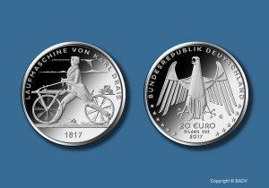 BRD 20 Euro 2017 Laufmaschine von Karl Drais 1817, Copyright: BADV. Fotograf: Hans-Joachim Wuthenow, Berlin. Künstler: Friedrich Brenner, Diedorf