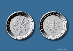 BRD 20 Euro-Gedenkmünze 2017 50 Jahre Deutsche Sporthilfe, Copyright: BADV. 50 Jahre Deutsche Sporthilfe. Fotograf: Hans-Joachim Wuthenow, Berlin. Künstlerin: Adelheid Fuss, Geltow