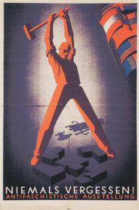 Niemals vergessen! Antifaschistische Ausstellung, Ausstellungsplakat von Victor Theodor Slama, Wien 1946, ÖNB-FLU 1631069
