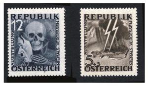Österreich Mi.Nr. VI/VII postfrisch Totenkopf mit Hitler-Maske / SS-Blitz über Österreich