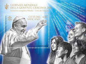 """Vatikan Block 50 postfrisch """"Weltjugendtag Krakau"""" mit segnenden Papst Franziskus (erschienen am 10. Mai 2016)"""