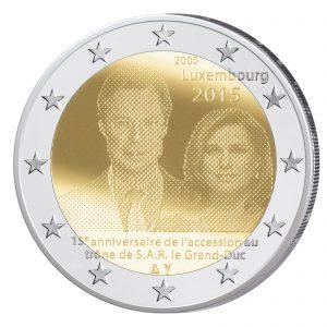 Luxemburg 2 Euro-Gedenkmünze 2015 – 15. Jahrestag Thronbesteigung von Großherzog Henri