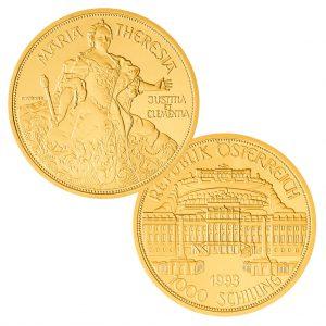 """Österreich 1000 Schilling 1993 """"Maria Theresia"""", 986er Gold, 16,23g, Ø 30mm, PP, Auflage: 50.000"""