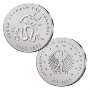 BRD 10 Euro 2015 500. Geburtstag von Lucas Cranach dem Jüngeren, st (CuNi, 14g, Ø 32,5mm), PP (625er Silber, 16g, Ø 32,5mm)