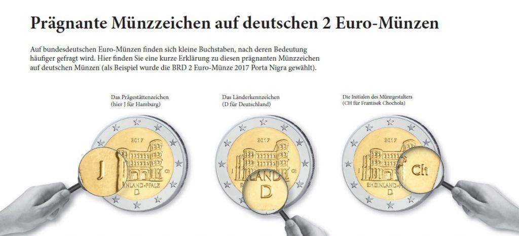 """Die Münzzeichen auf deutschen Münzen im Überblick, hier am Beispiel der 2 Euro 2017 """"Porta Nigra"""""""