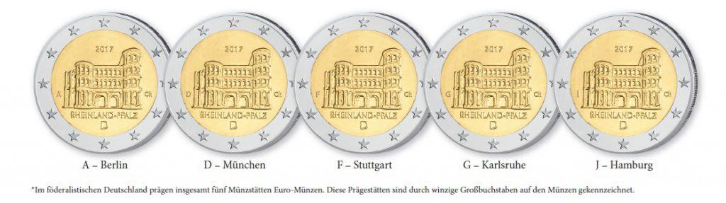 """Die Prägestättenzeichen auf deutschen Münzen - Beispiel 2 Euro 2017 """"Porta Nigra"""""""