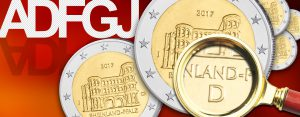 Prägnante Münzzeichen auf BRD 2 Euro-Münzen – die Prägestättenzeichen, das Länderkennzeichen.