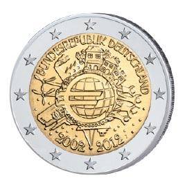 """Motiv der 2 Euro-Gemeinschaftsausgabe 2012 """"10 Jahre Euro-Bargeld"""""""