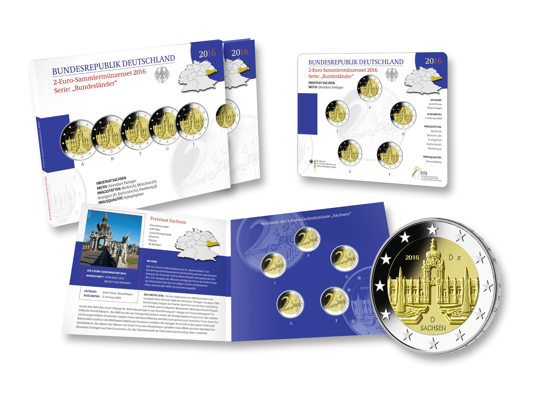 Brd 2 Euro Gedenkmünze 2016 Serie Bundesländer Sachsen Dresdner