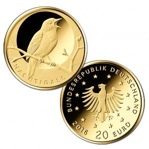"""BRD 20 Euro-Goldmünze 2016 """"Heimische Vögel – Nachtigall"""", © BADV"""