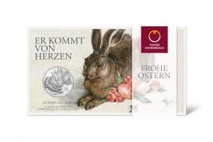 Verpackung der Münze Österreich 5 Euro 2016 Dürers Feldhase in Silber