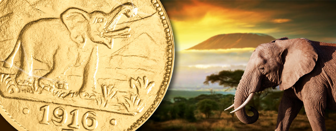 Der Gold-Elefant aus Deutsch-Ostafrika vor Kilimandscharo