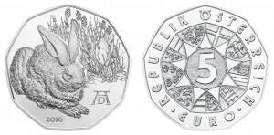 Österreich 5 Euro 2016 Dürers Feldhase – Handgehoben - Silber