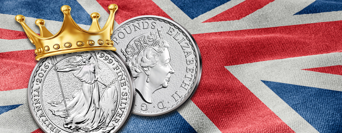 Großbritanniens Silbermünze Britannia – 2016, der Jubiläumsjahrgang der Queen
