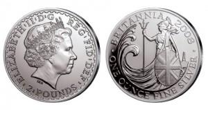 Großbritannien Britannia 1 Unze Silber 2008
