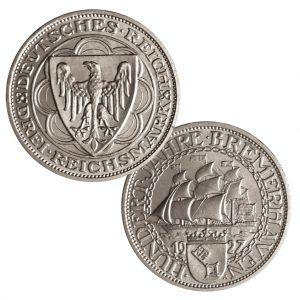 """Weimarer Republik, 3 Reichsmark 1927 """"100 Jahre Bremerhaven"""", 500er Silber, 15g, Ø 30mm, Prägestätte A (Berlin), Jaeger-Nr. 325, Auflage: 150.000"""
