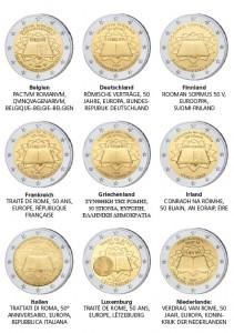 Inschriften auf den jeweiligen Ländervarianten der 2 Euro-Gemeinschaftsausgabe 2007