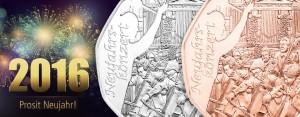 """Österreichs erste Münze des Sammlerjahres 2016: die 5 Euro Neujahrsmünze 2016 """"Neujahrskonzert"""""""