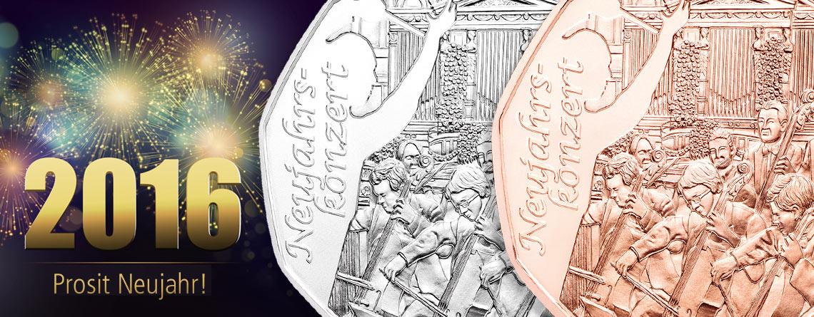 """Österreich 5 Euro Neujahrsmünze 2016 """"Neujahrskonzert"""""""