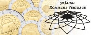 2 Euro-Gemeinschaftsausgaben im Focus: die erste 2 € Gemeinschaftsausgabe 2007 50. Jahrestag der Unterzeichnung der Römischen Verträge