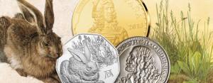 Von Österreichs 5 Euro-Münze 2016 Feldhase bis zur 3 Reichsmark 1928 – Albrecht Dürer als Münz-Thema