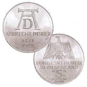 BRD 5 DM 1971 500. Geburtstag Albrecht Dürer, J. 410