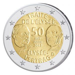 """Deutsche Variante der 2 Euro-Gedenkmünze 2013 """"50 Jahre Élysée-Vertrag"""""""