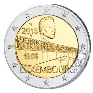 """Luxemburg 2 Euro-Gedenkmünze 2016 """"50. Jahrestag der Großherzogin-Charlotte-Brücke"""""""
