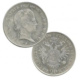 """Österreich 20 Kreuzer """"Ferdinand I."""", Silber"""