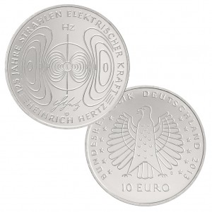 BRD 10 Euro 2013 125 Jahre Strahlen elektrischer Kraft – Heinrich Hertz , st (CuNi, 14g, Ø 32,5mm), PP (625er Silber, 16g, Ø 32,5mm), Jaeger-Nr. 584