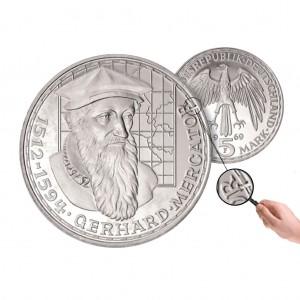BRD 5 DM 1969 375. Todestag Gerhard Mercator, 625er Silber, 11,2g, Ø 29mm, Prägestätte F (Stuttgart), Jaeger-Nr. 400, Auflage: wenige Exemplare