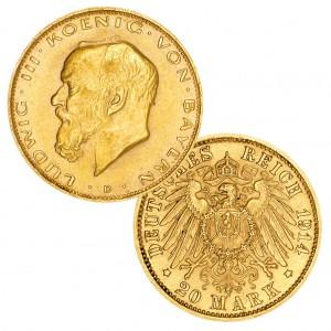 """Königreich Bayern 20 Mark 1914 """"Ludwig III."""", 900er Gold, 7,965g, Ø 22,5mm, Jaeger-Nr. 202"""