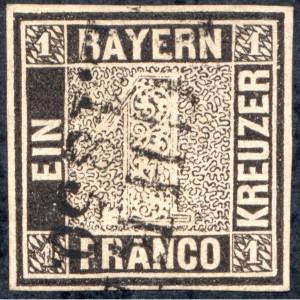 """Bayern 1849 – Mi.Nr. 1 – der """"Schwarze Einser"""""""
