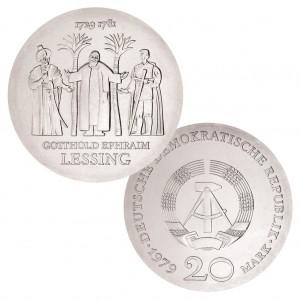 DDR 20 Mark 1979 250. Geburtstag Gotthold Ephraim Lessing, 500er Silber, 20.9g, Ø 33mm, Jaeger-Nr. 1571