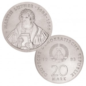 DDR 20 Mark 1983 500. Geburtstag Martin Luther, 500er Silber, 20.9g, Ø 33mm, Auflage: 40.500, Jaeger-Nr. 1591