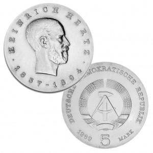 DDR 5 Mark 1969 75. Todestag Heinrich Hertz, Neusilber (CuZnNi), 12,2g, Ø 29mm, Prägestätte A (Berlin), Auflage: 100.268, Jaeger-Nr. 1526