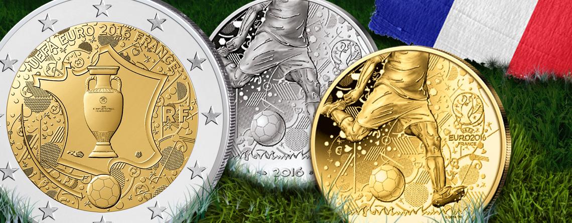 Frankreich 2016 Gedenkmünzen Des Gastgebers Zum Fußball Ereignis