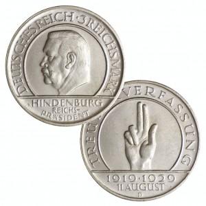 """Weimarer Republik, 3 Reichsmark 1929 """"10. Jahrestag der Weimarer Reichsverfassung"""""""