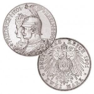 """Königreich Preußen 2 Mark 1901 """"200 Jahre Königreich"""", 900er Silber, 11,111g, Ø 28mm, Jaeger-Nr. 105"""
