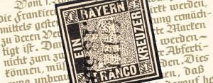 """Die erste deutsche Briefmarke überhaupt: """"Schwarze Einser"""" Bayern 1849 – Mi.Nr. 1"""